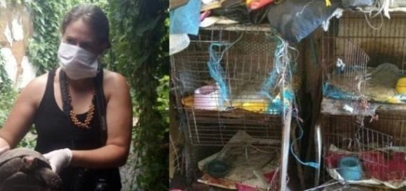 Animais engaiolados estavam no quarto da idosa, de 66 anos, encontrada morta em João Pessoa (Foto: Divulgação/Polícia Civil)