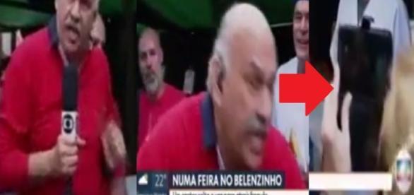 Márcio Canuto empurra mulher ao vivo
