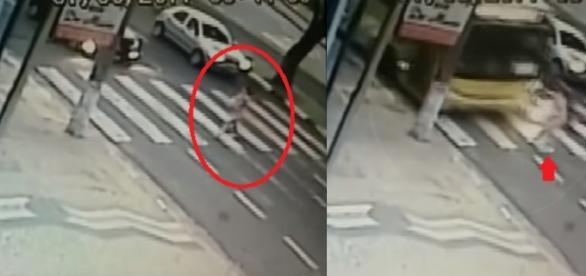 Mulher é atropelada com bebê no colo e vídeo mostra tudo