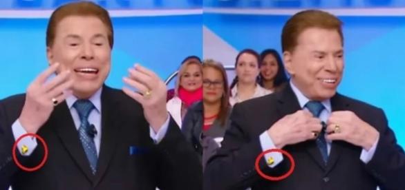 Silvio Santos usa abotoaduras douradas em formato de pato