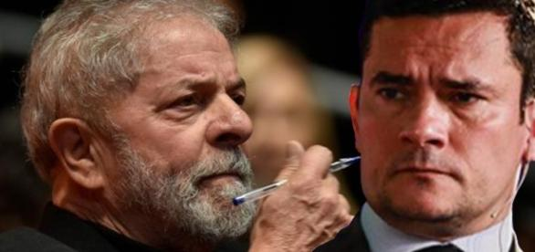 Ex-presidente Lula (à esquerda) e juiz Sérgio Moro