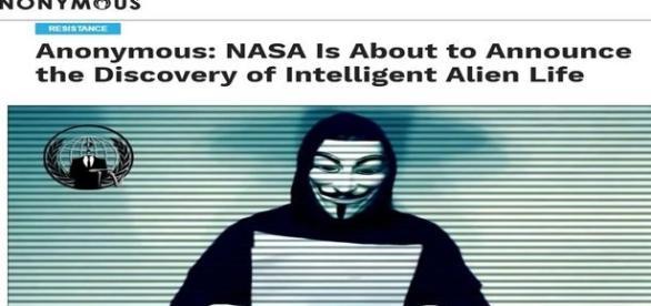 Anonymous acredita que a NASA está prestes a revelar a existência de ET´s (Anonymous)