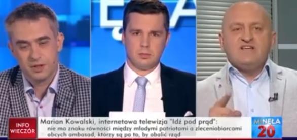 Marian Kowalski, Michał Rachoń oraz Krzysztof Gawkowski (źródło: TVP Info).