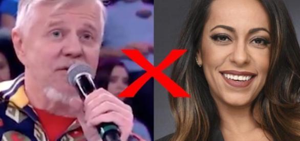 Samantha Schmütz bate boca com Miguel Falabella, ao vivo
