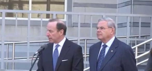 Sen. Bob Menendez with lawyer Abbe Lowell. Photo via NJ.com, YouTube.