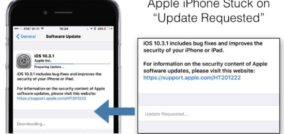 "Apple iPhone iOS 10.3.1 Update Stuck on ""Update Requested ... - resourcesforlife.com"