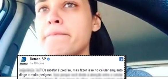 Débora Nascimento não respondeu o comentário do Detran (Foto: Reprodução)