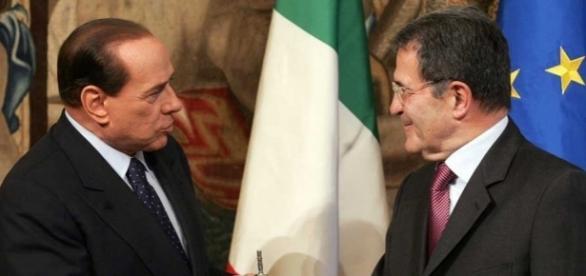 Silvio Berlusconi con Romano Prodi