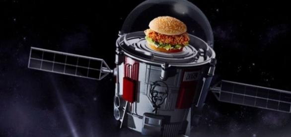 Instead of a rocket to space, KFC is sending a Zinger to the stratosphere by balloon. / from 'Short School Stories' - Image source BN library