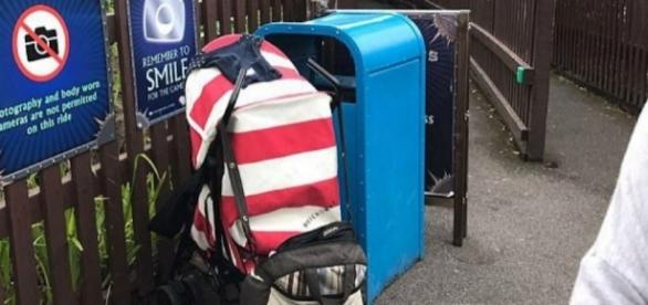 Bebê foi encontrado do lado dessa lixeira