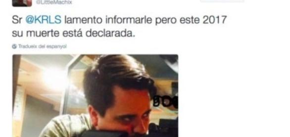 Otra de las amenazas de muerte a Puigdemont por Twitter hace unos meses, ésta con nombre y cara de su autor.