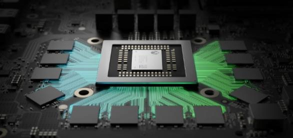 The Xbox Scorpio CPU surrounded by memory / Image used with permission from Microsoft (fair use)