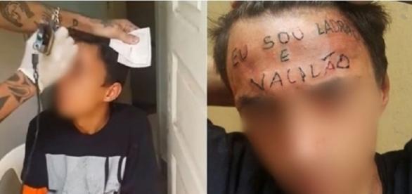 """""""Eu sou ladrão e vacilão"""", diz a frase tatuada na testa de suposto ladrão."""