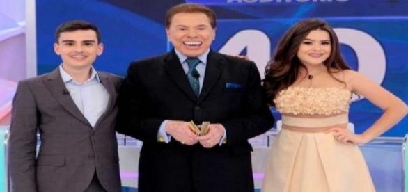 Silvio Santos com Maisa e Dudu Camargo