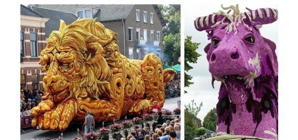 Desfile holandês de carros alegóricos feitos com flores (Foto: Reprodução)