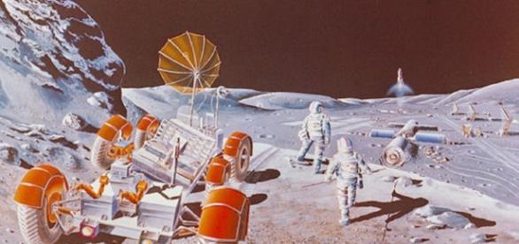 Future moon base (courtesy NASA)