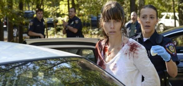 Jessica Biel Dances With the Devil in Her New USA Drama 'The ... [Image source: Youtube Screen grab]
