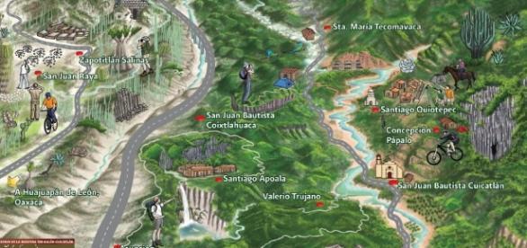 Mapa de la Reserva de la Biósfera Tehuacán - Cuicatlán