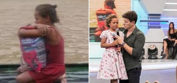 Após perder tudo numa enchente, menina e avós recebem uma surpresa no programa do Rodrigo Faro (Foto: Reprodução)