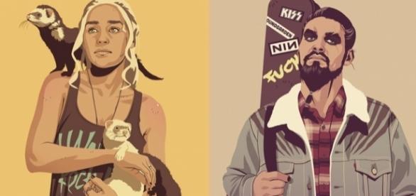 Daenerys e Khal Drogo entre as décadas de 80 e 90. (Fotos: Reprodução/Mike Wrobel)