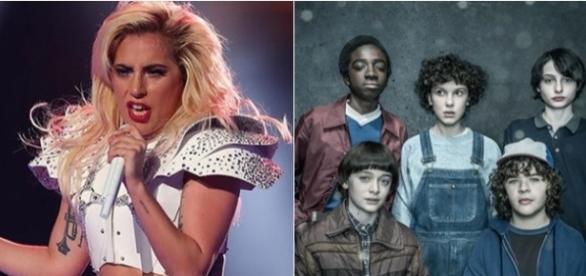Lady Gaga no 'Super Bowl' e os atores da série 'Stranger Things' (Foto: Reprodução)