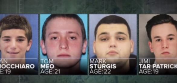 A collage showing the four photos of the missing men from Bucks County - YouTube/ABC News