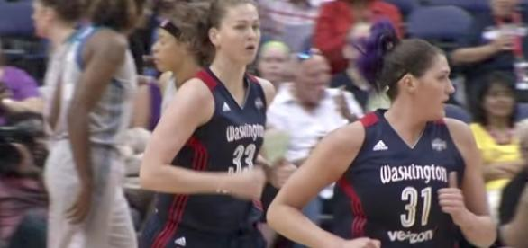 Emma Meesseman helped lead the Washington Mystics to victory after Elena Delle Donne was injured early. [Image via WNBA/YouTube]
