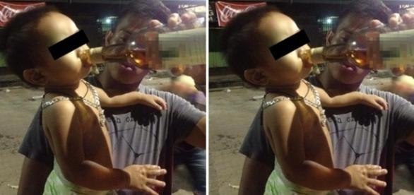 Jovem causa indignação em redes sociais ao dar conhaque para bebê