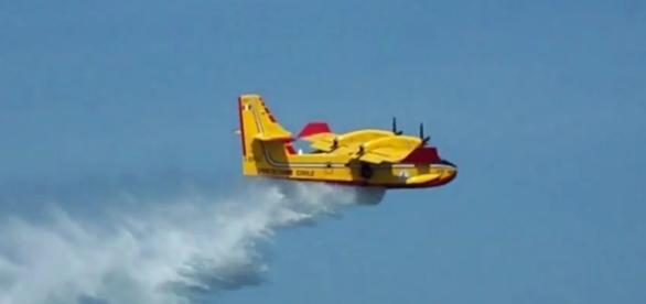 Un Canadair in azione durante un incendio