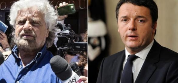 Da sinistra, Beppe Grillo leader del Movimento 5 stelle e Matteo Renzi, segretario nazionale del Pd