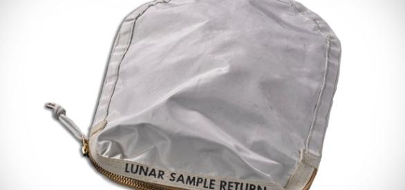Neil Armstrong's lunar sample bag which is expected to raise a fortune (Image - CBSPhilli- YouTube)