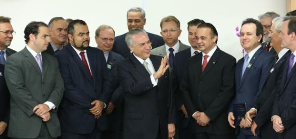 Presidente Michel Temer em reunião com a bancada evangélica (Foto: Reprodução)
