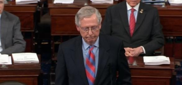 Senate Majority Leader Mitch McConnell after 'Skinny Repeal' defeat / [Screenshot from PBS Newshour via YouTube:]https://youtu.be/Vc8qK7SaxyM]