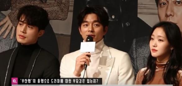 Lee, Gong and Kim en la conferencia de prensa del drama Goblin, Noviembre 2016
