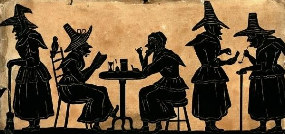Witches: five silhouetted figures by Welcome Images | Photo via Wikimedia Commons