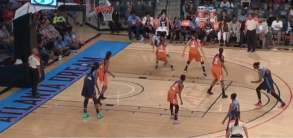 The Atlanta Dream took down the Phoenix Mercury in overtime thanks to Layshia Clarendon's triple-double. [Image via WNBA/YouTube]