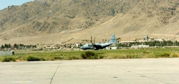 U.S. Air Force C-130 Hercules at Kabul airport (credit – wikimediacommons)