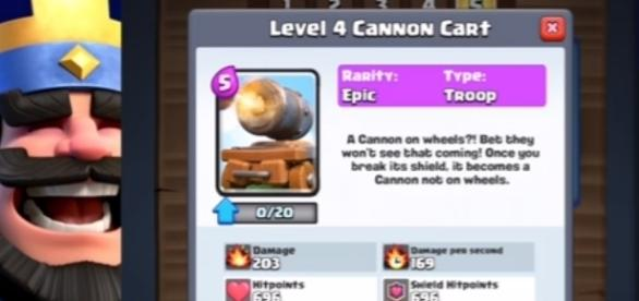 """The latest """"Clash Royale"""" card: The Cannon Cart - YouTube/Chief Pat-Clash Royale"""