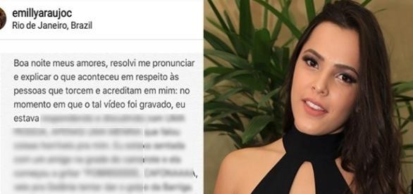 Emilly é rebatida por internautas