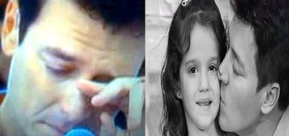Rodrigo Faro e sua filha caçula que lhe surpreendeu com uma mensagem inesperada
