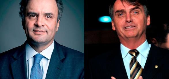 Bolsonaro (à direita) e Aécio Neves conseguiram liberação de verbas para emendas