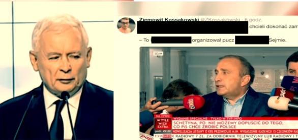 Jarosław Kaczyński oraz Grzegorz Schetyna (źródło: TVP Info).