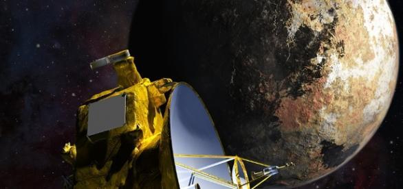New Horizons flies by Pluto. - NASA