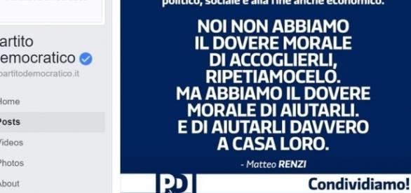 La frase incriminata di Renzi, sparita dopo poche ore dalle pagine social del Pd