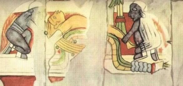 Uno de los murales donde se representan varias personas. Una de ellas destaca de los demás y parece que lo estén torturando.