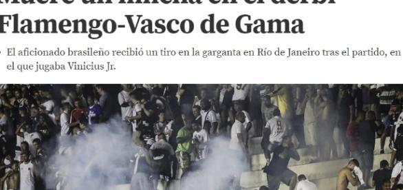 Jornal destaca a morte de vascaíno