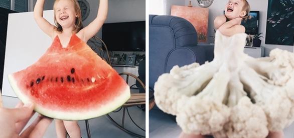Uma melancia ou uma couve flor podem se transformar em vestidos nas fotos da artista Alya Chaglar