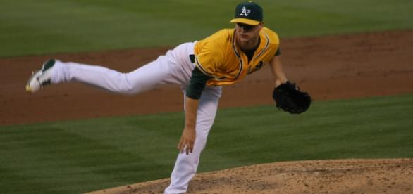 Possible trade pieces include Oakland's Sonny Gray - picture by Scott u via Wikimedia Commons