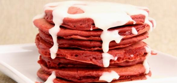 Red velvet pancakes will make a popular breakfast meal. (image source: YouTube/Laura in the Kitchen)