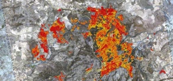 La mappatura riguardante l'area di Piazza Armerina, in Sicilia (fonte protezionecivile.gov.it)
